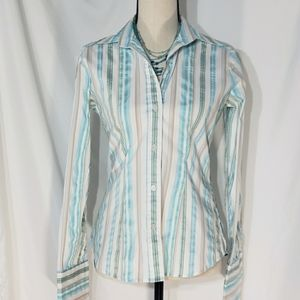 NY and Co▪︎Stretch Button Down Striped Blouse